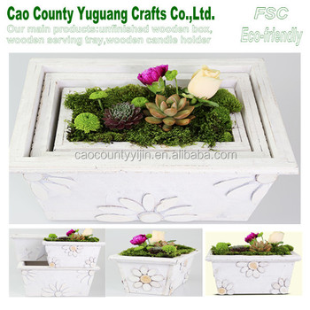 Washed White Wood Flower Groove Flower Box Wood Planter Boxes Wooden