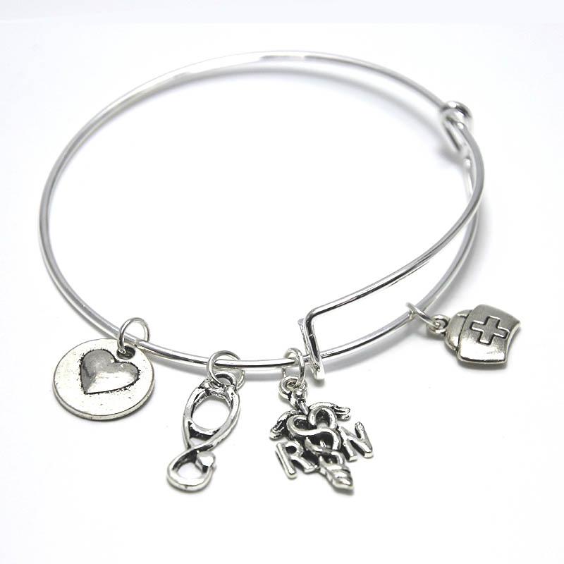 Nurse Charm Bracelet Appreciation RN Gifts Registered Nurse Jewelry Medical Gift Stethoscope Charm