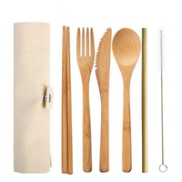 Tablewares Amazon Top Seller Eco friendly Bamboo 7 Pieces Knife Fork Spoon Chopsticks Straw Brush Cutlery Travel Set Cloth Bag