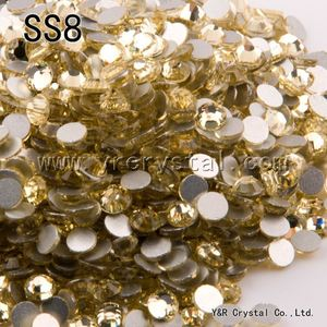 Free Shipping SS8 2.3-2.4mm Jonquil Non Hotfix Glass Beads Flat Back Crystal rhinestones