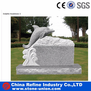 Factory wholesale granite headstone with dolphin statue