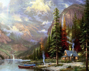 High quality canvas base hand-painted painting low price beautiful mountain scenery oil painting 60x90cm