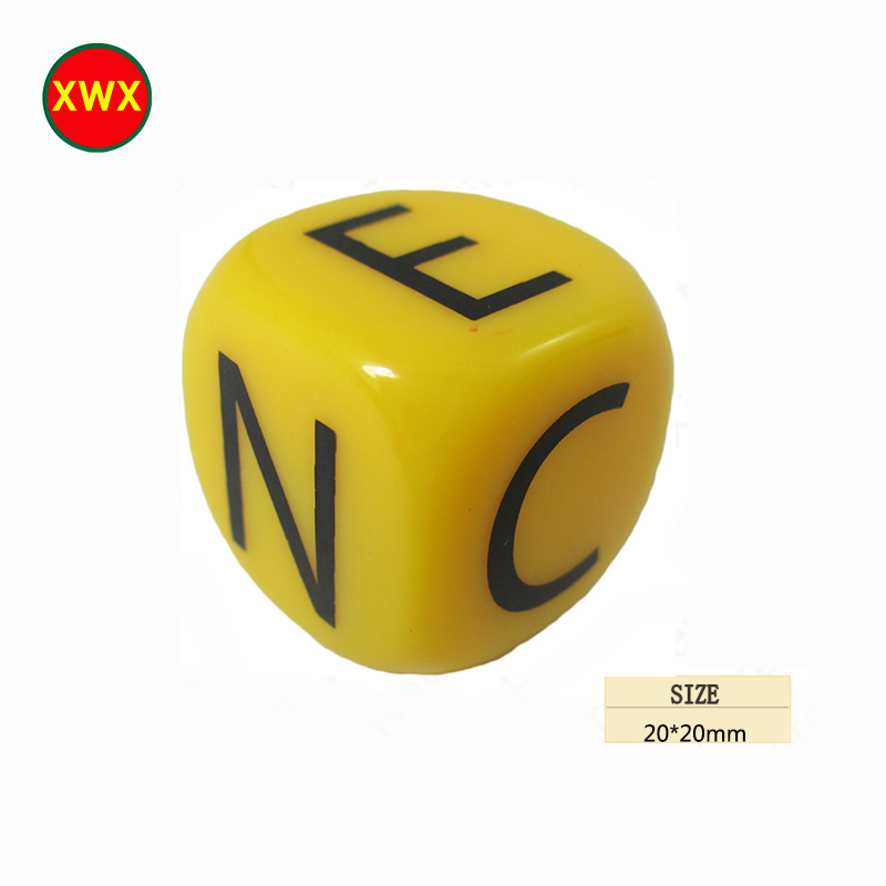 Custom Cube Shape Yellow Game Dice