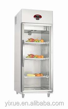 High Quality!!stainless Steel Single Door Freezer Transparent Glass Door  Refrigerator