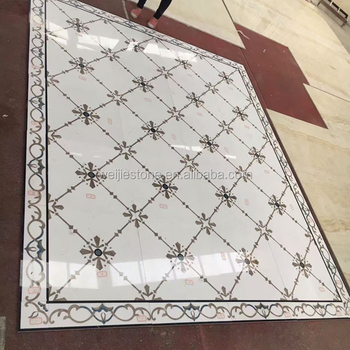 Simple Foyer Medallion Waterjet Marble Tiles Design Floor Pattern