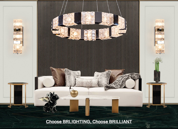 Rectangular Glass Chandelier for Restaurant Lighting Crystal Cube Pendant Lamp