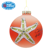 Hand painted glitter glass Christmas ornament frosted ball wholesale