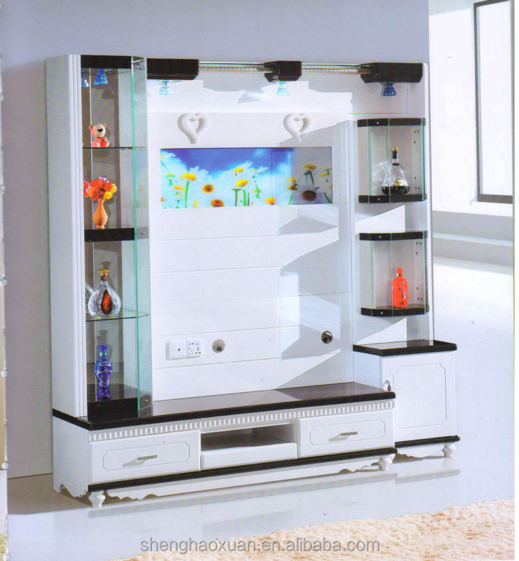 Hot selling home furniture tv hall cabinet living room - Wall showcase designs for living room ...