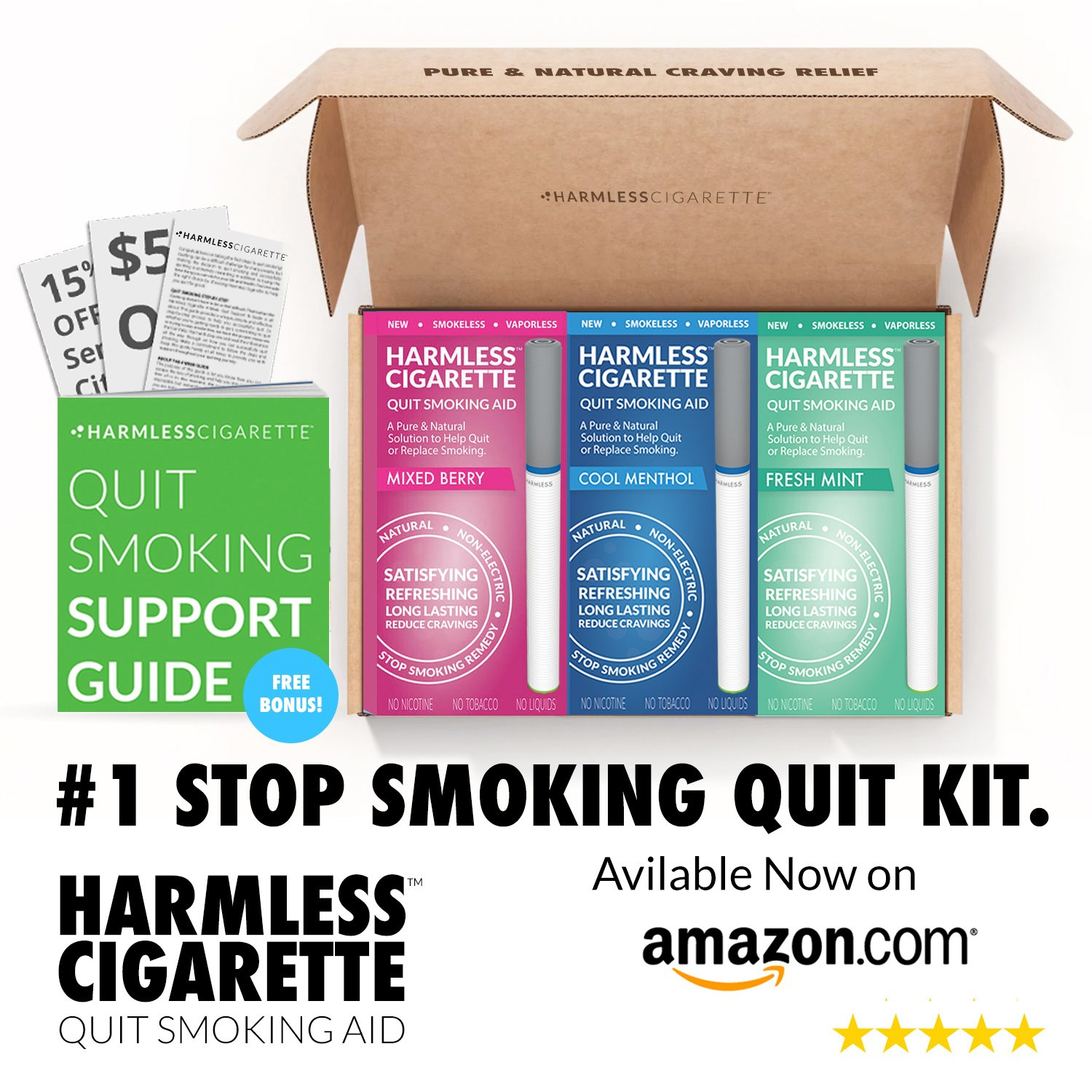 Quit Smoking Aid/Natural Habit Replacement/Stop Smoking Remedy To Help You Quit Smoking Fast & Easy. Now Better Than Nicotine Patches, Nicotine Gum & Lozenges (Quit Kit, 1)