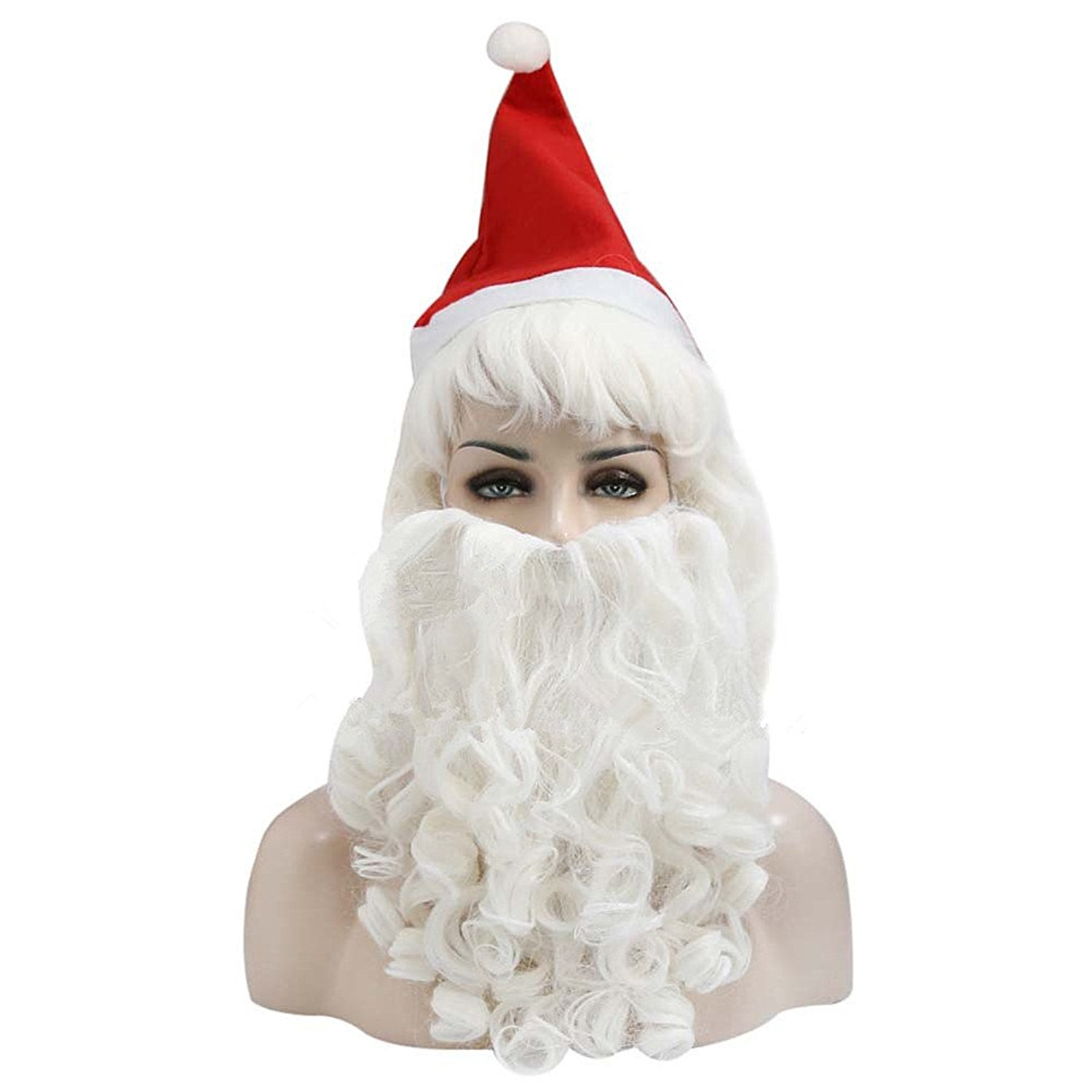 Minibaby 3pcs/Set White Curl Waves Beard Santa Claus Hat Wig Makeup For Girls/Boys– Pretend Play & Dress-up Make Up Kit