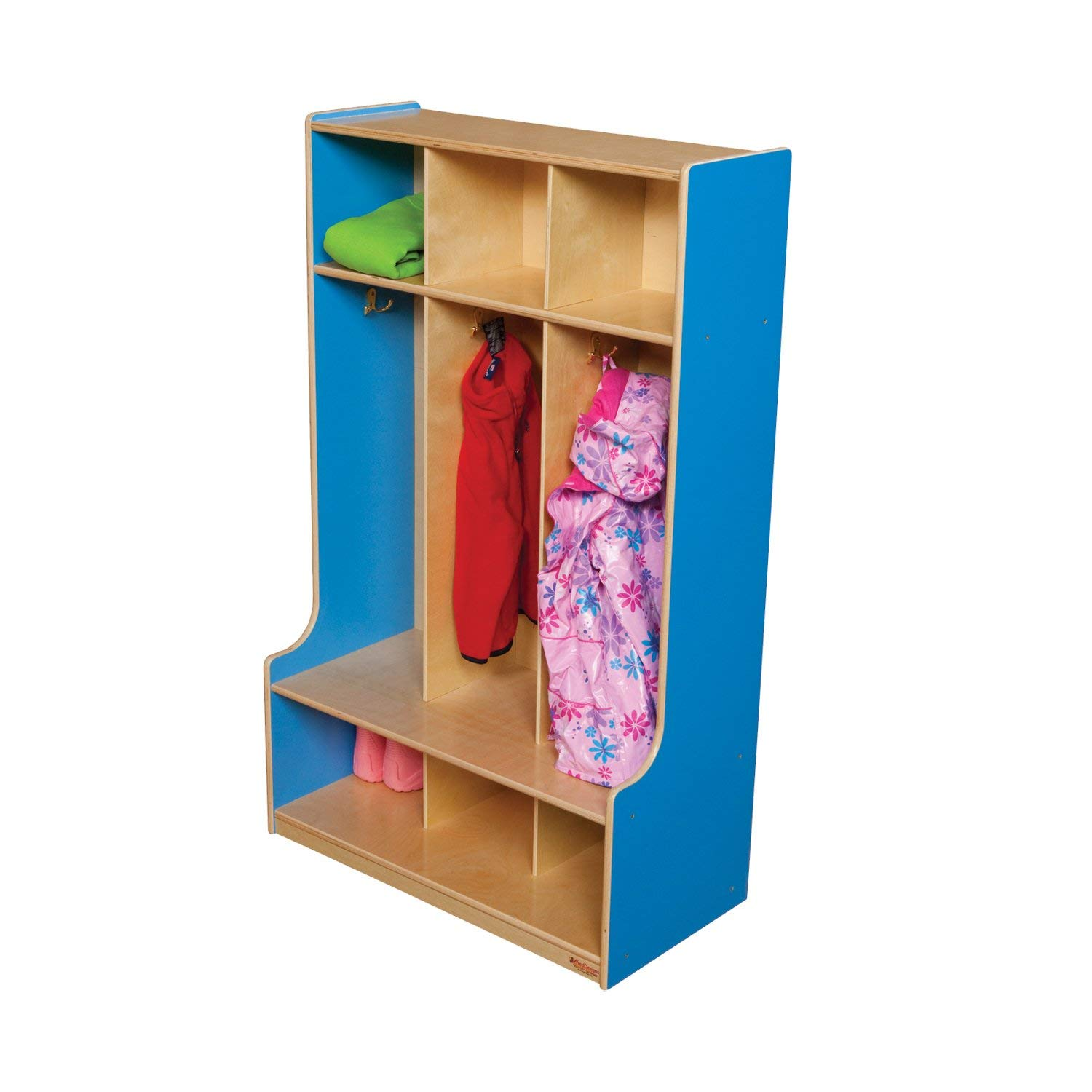 "Wood Designs 51003B Blueberry 3 Section Seat Locker, 49"" Height, 18"" Width, 51.5"" Length"