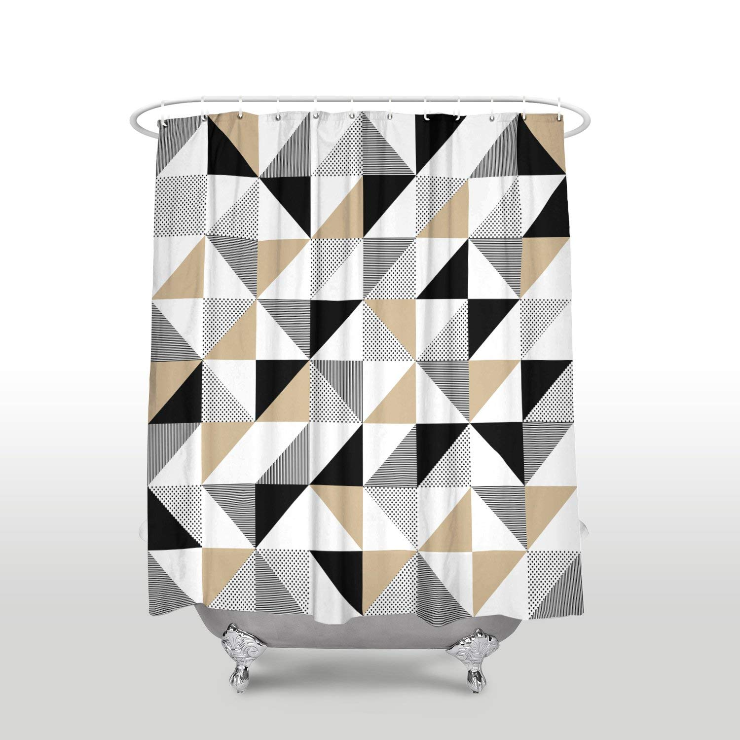 Rainbow Shower Curtain Colorful Abstract Geometric Pattern