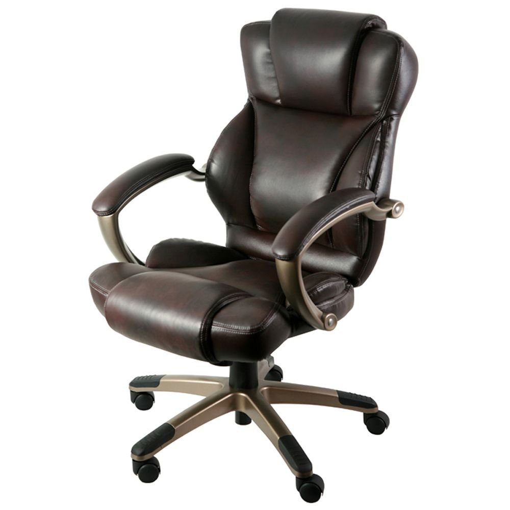 "Galena Bonded Leather Executive Chair with Headrest Dimensions: 26.5""W x 28.5""D x 42""H Seat Dimensions: 22.05""Wx20.47""Dx18.89-22.84""H Dark Brown Faux Leather/Champagne Base"