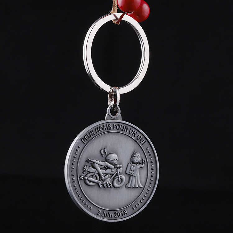 Novelty products Custom 3D Antique Silver Double sided design Character Landscape Coin Keychain for gifts