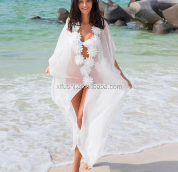 STOCK!White Long Style Flower Front V-NECK Lady Bikini Beach Dress