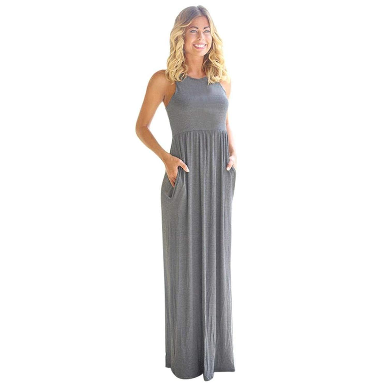 079d9790ec8 Get Quotations · OOEOO Lady Sleeveless Maxi Dress Long Gown Boho Dress  Beach Summer Sundrss with Pockets