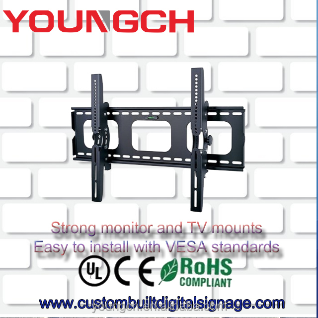 Strong metal plate wall mount bracket adjustable in size and angle for tvs and lcd monitors from 32 to 84 inch vesa mount stand