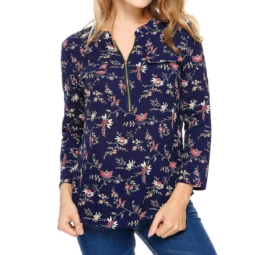 Women's Tunics, ShenPr Women Casual V Neck Zip up Roll-up Sleeve Tunic Blouse Tops Long Sleeve Shirt