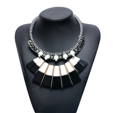 Newest Elegant Decked Black And White Chunky Statement Necklace Women