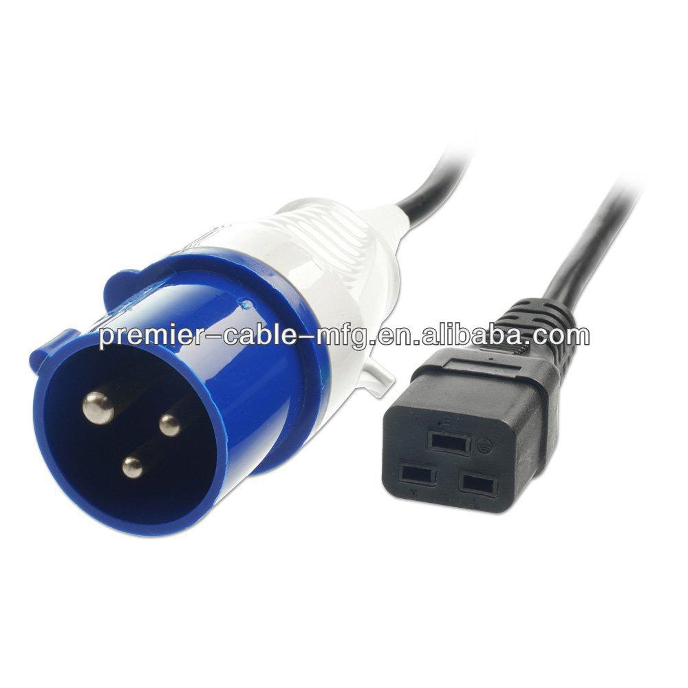 Iec 320 C19 Socket - Iec 309 16a Commando Plug - 3m Lead
