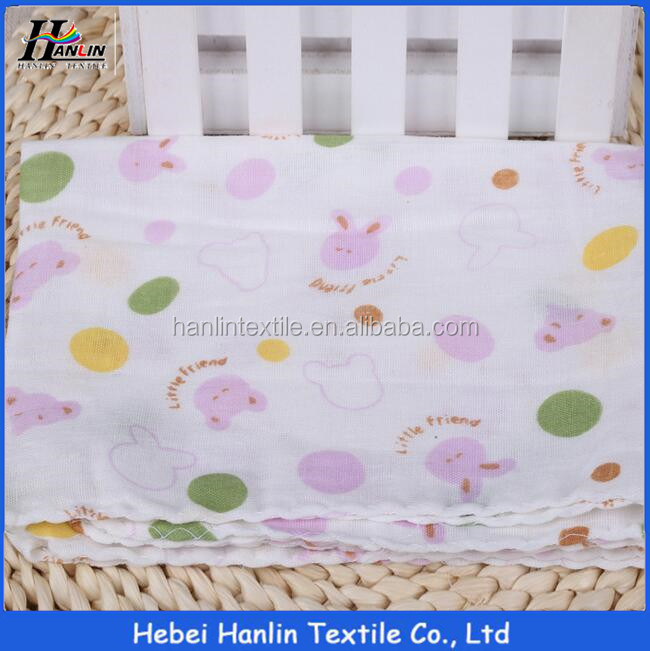 Popular design 100% cotton printed muslin double layer gauze fabric