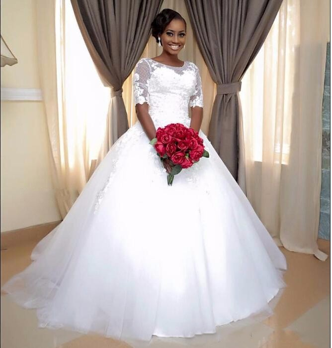 Ne153 Barato Do Vintage Meia Manga Rendas Vestido De Baile Vestido De Casamento Personalizado 2017 Sheer Neck Vestido De Noiva Vestido De Casamento