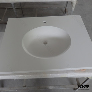 l shaped solid surface stone top modern bathroom vanity top