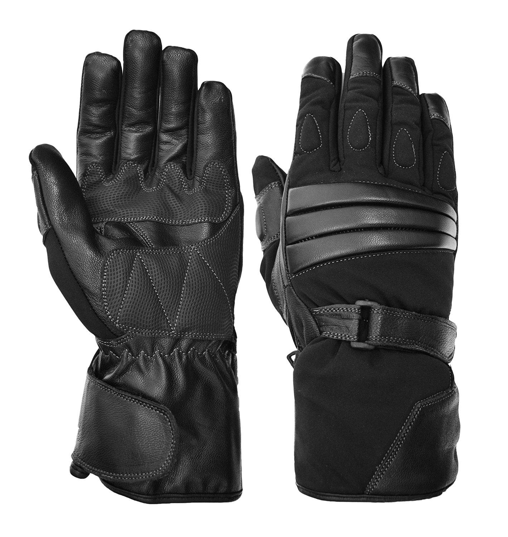 Vance Leathers Men's Premium Padded Gauntlet Motorcycle Gloves - Black - L