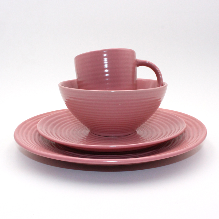 16pcs Solid Color Glazed Ceramic Stoneware Dinner Set