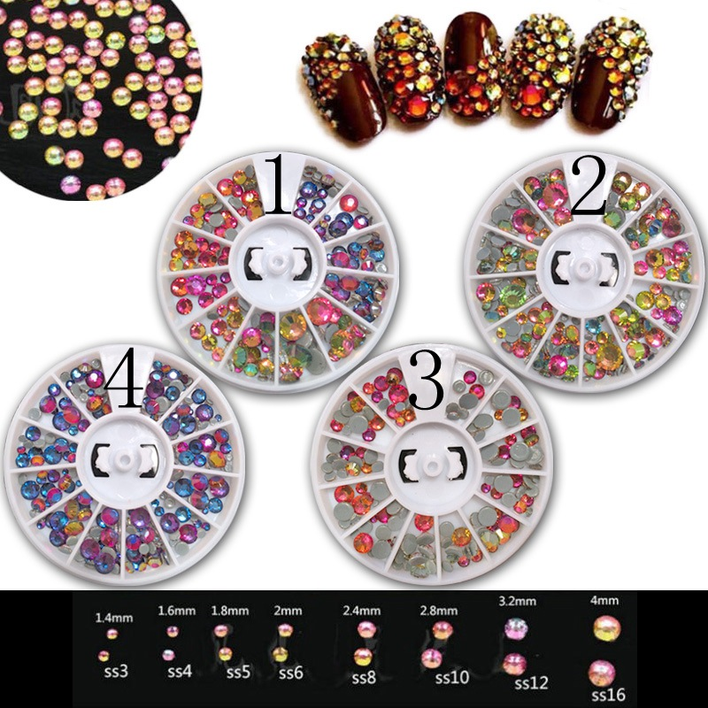 NEW arrival mixed sizes round colorful AB 3D glitter Acrylic  Nail Rhinestones