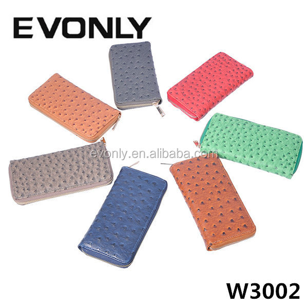 W3002 New Women Ostrich Leather Long Wallets,Clutch Bag Wallet Purse Zip Around Fashion Purse