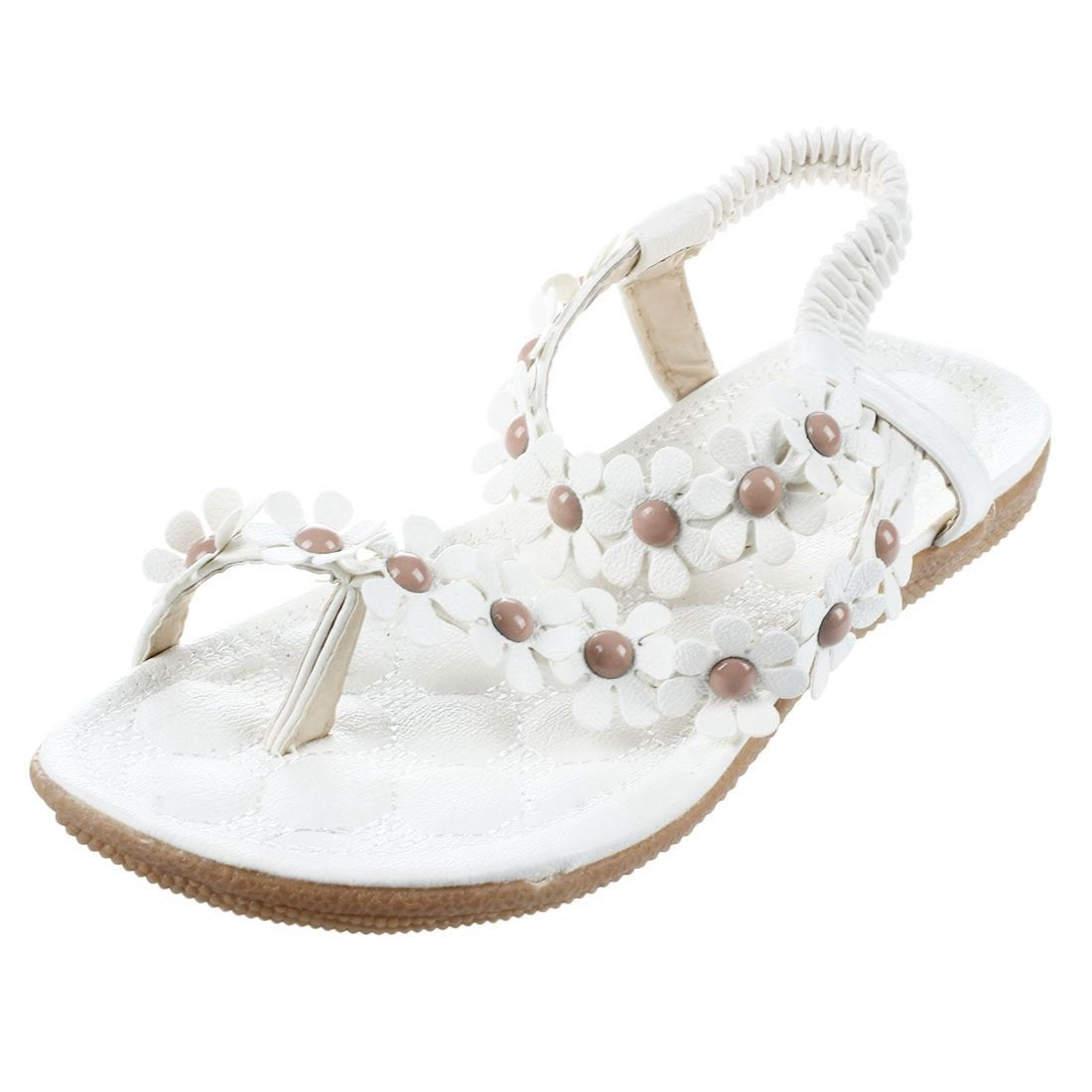 SODIAL(R) New Flip-flop sandals open toe flip women's shoes flat flats bohemia flower beaded soft outsole sweet for women 669 white US8.5=EUR39=feet length 24.5CM
