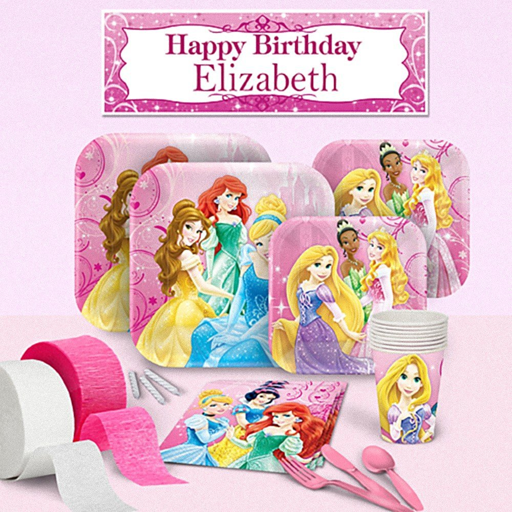 Disney Princess Royal - Deluxe Party Pack for 8 - Personalized Banner - Girls Birthday Party Supplies -