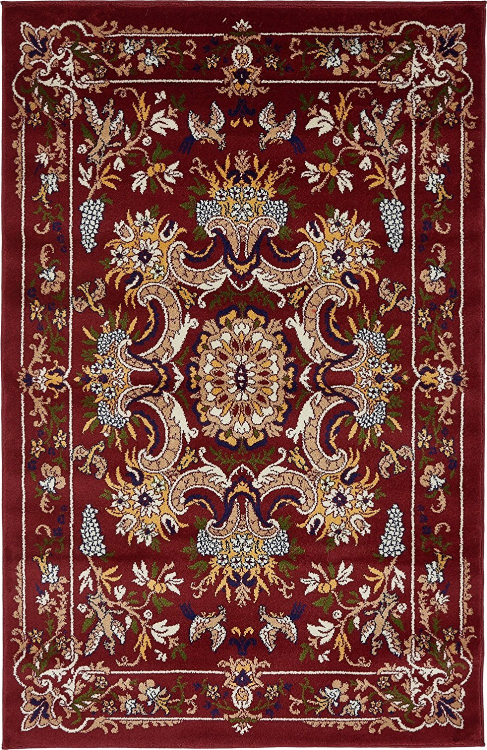 A2Z Rug Majesty Collection 4' x 6'-Feet Area Rugs, Burgundy