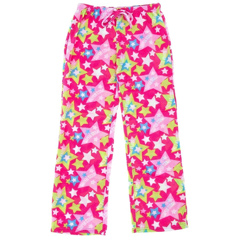 Inteco Pink Star Print Fleece Pajama Pants for Women
