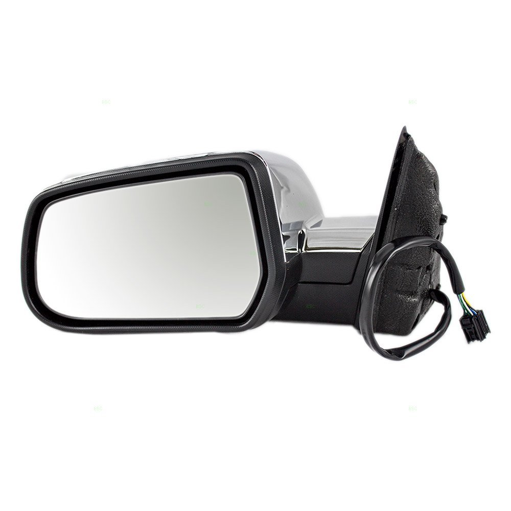 Drivers Power Side View Mirror Heated Memory with Chrome Cover Replacement for Chevrolet GMC SUV 22818267
