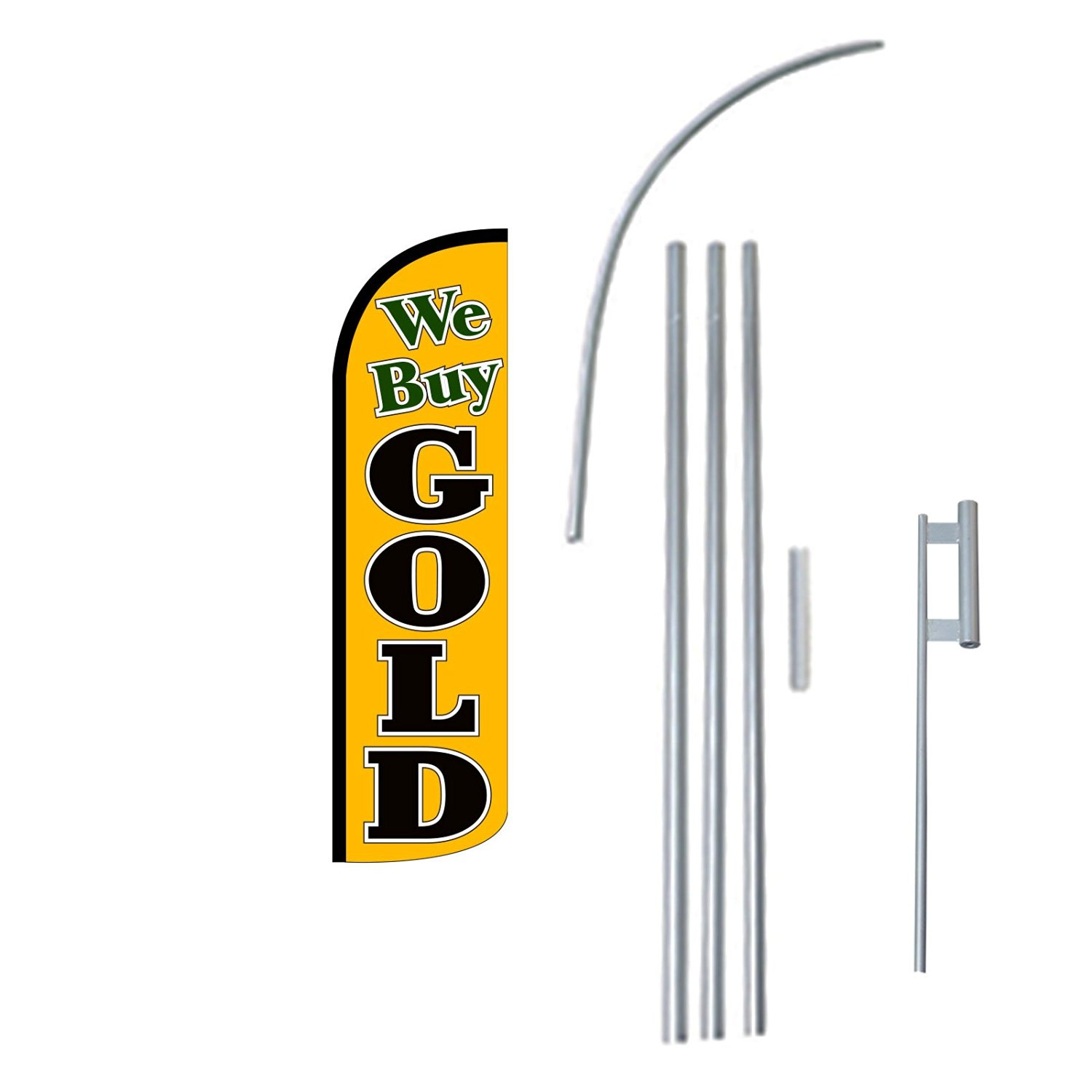 """NEOPlex - """"We Buy Gold"""" 12-foot KING SIZE (WINDLESS) Complete Swooper Feather Flag Kit...includes 5-piece 15-foot Pole and Ground Spike"""