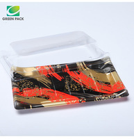customized disposable plastic sushi tray with printing logo or pattern