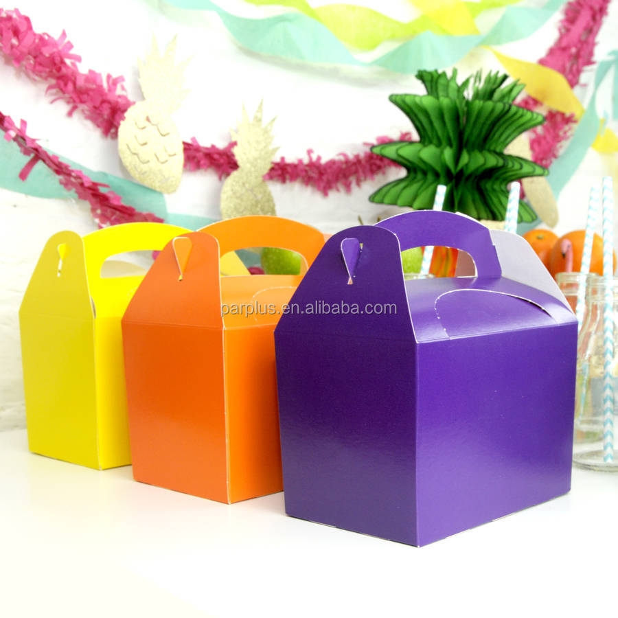Solid Bright Color Party Treat Boxes Snacks Boxes