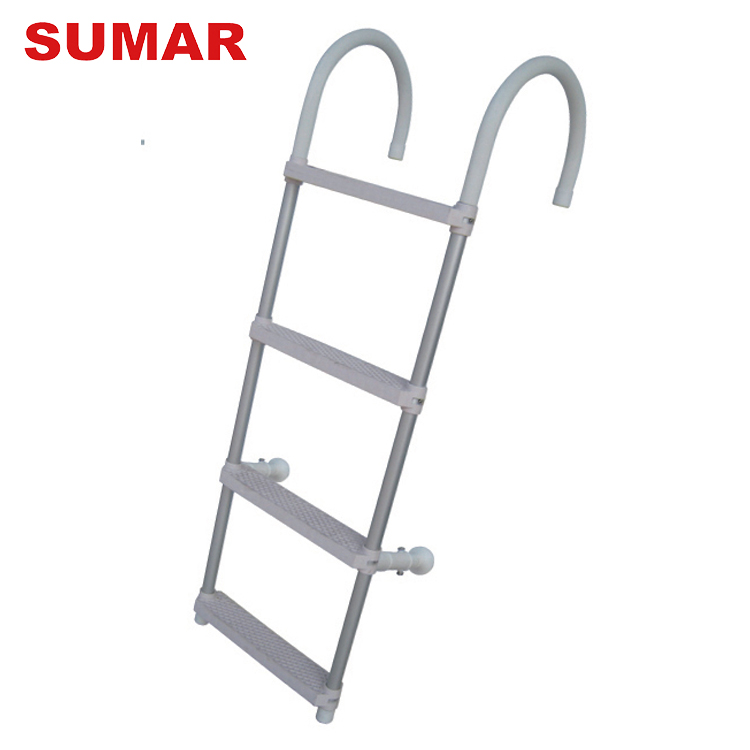 Inflatable boat custom quality 4 steps folding step aluminum ladder for sale