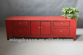 Chinese Antique Furniture Pine Wood Shanxi Reproduction Recycle Red Two Door Four Drawer Tv Cabinet