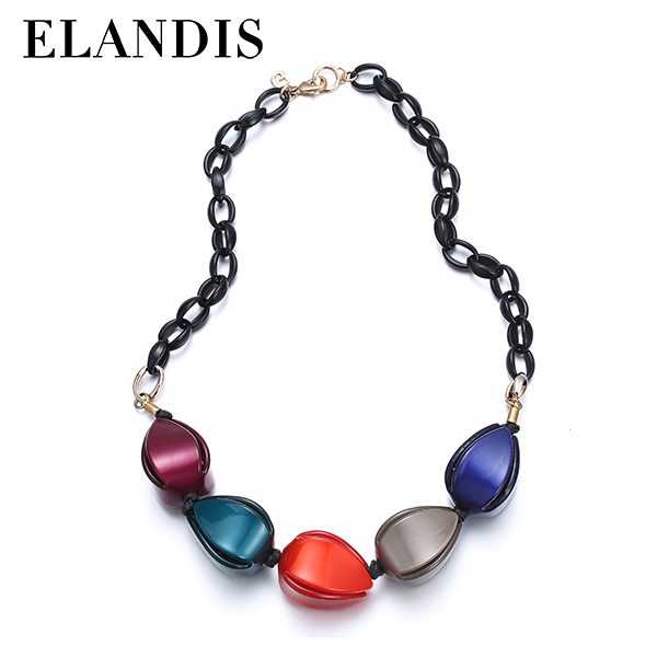 E-ELANDIS Colorful resin necklaces women statement choker necklace 2015 simple casual jewelry acrylic choker necklace NL13511
