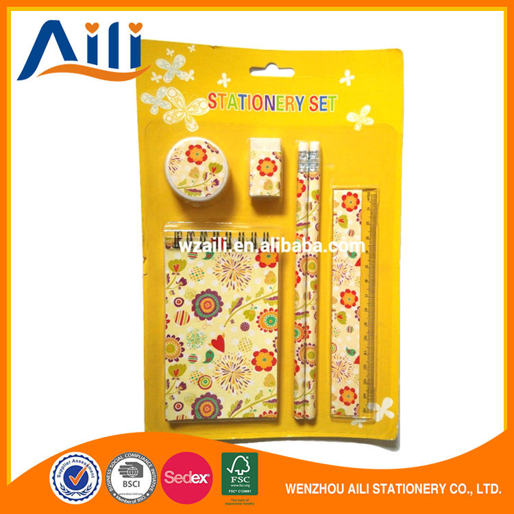 Promotional items back to school 5pcs/set stationery set for kids