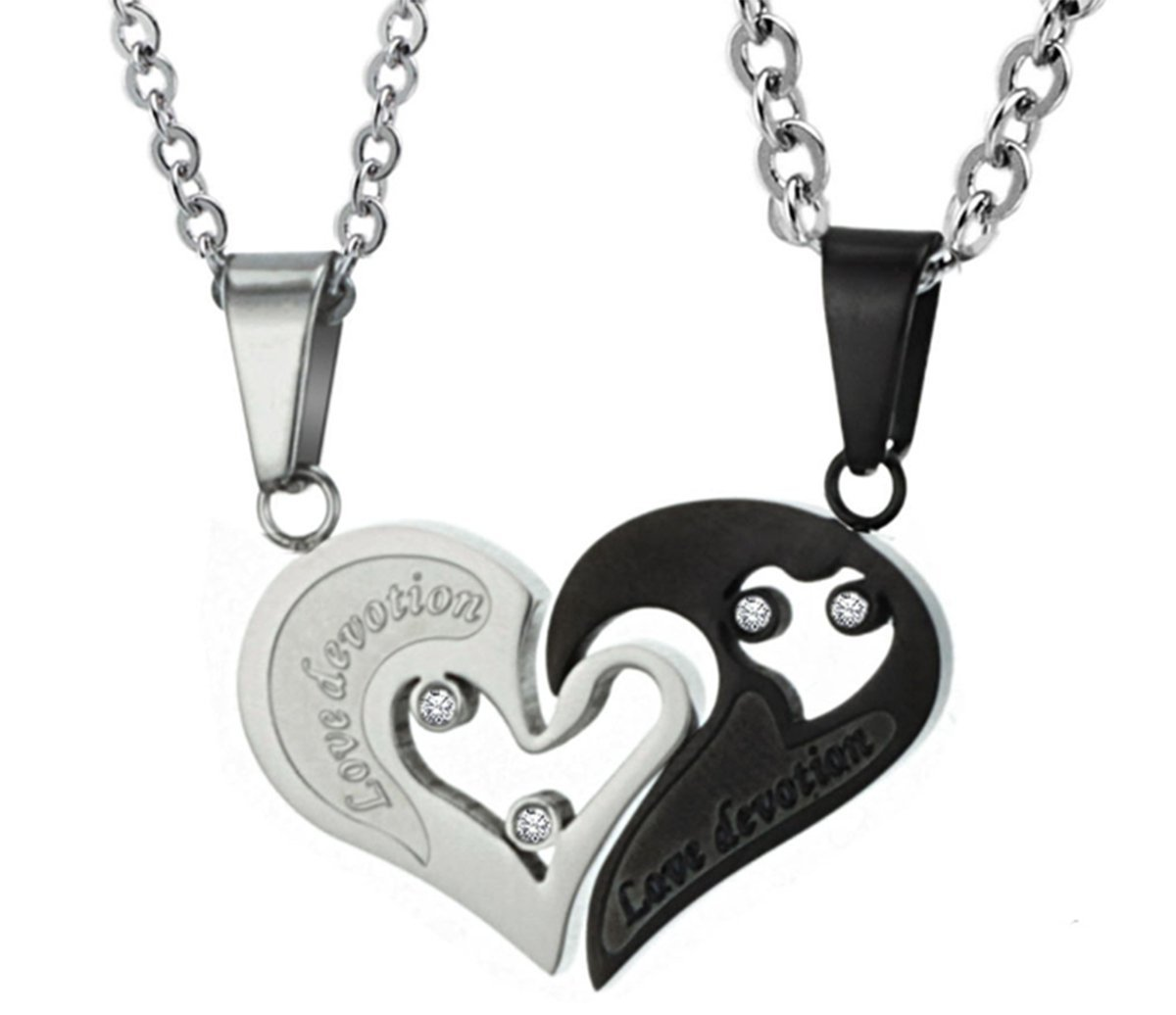 96586ef446 Get Quotations · Finov Stainless Steel Mens Womens Couple Necklace Puzzle  Matching Love You Heart Pendants