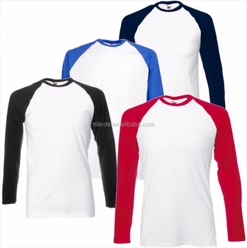 Plain Tunic T-shirts 60% Cotton 40% Polyester T-shirts fabric Long Sleeve Baseball Langarm T-Shirt Wholesale Custom