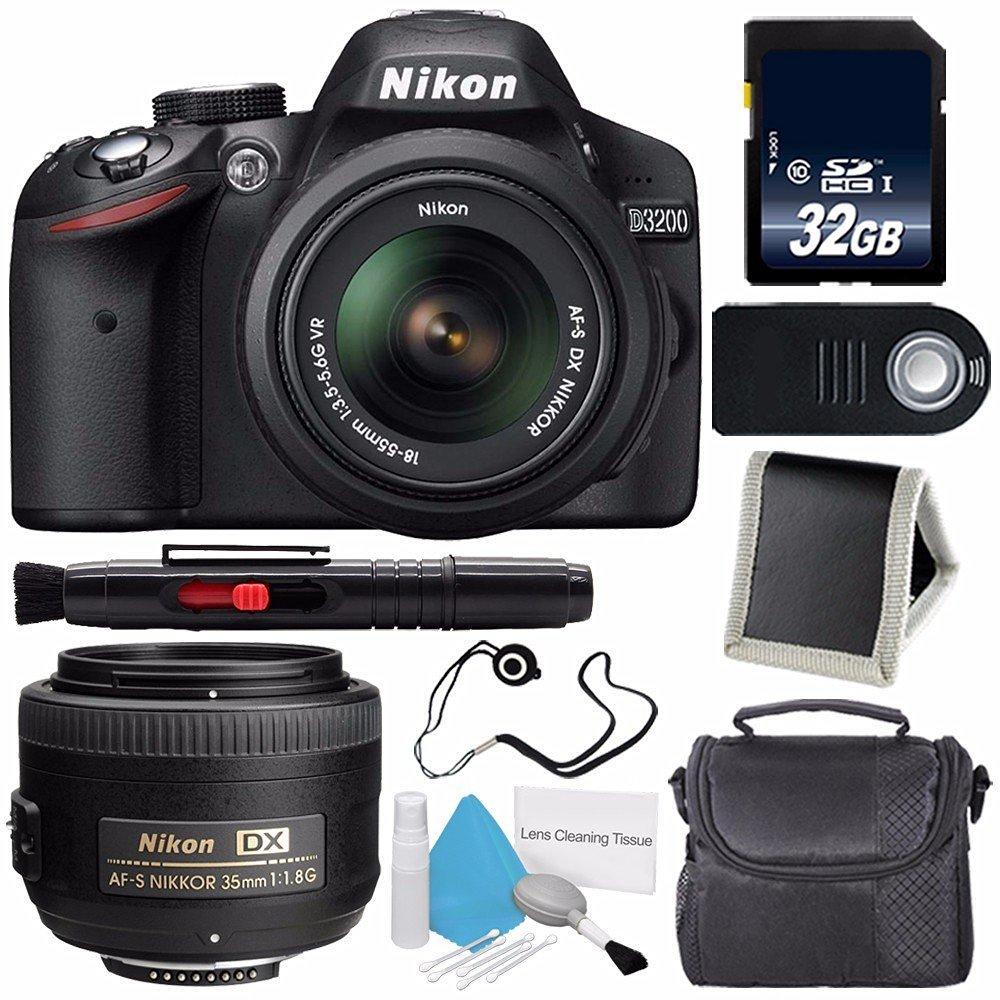 Nikon D3200 Digital Camera w/ 18-55 VR II Lens (International Model No Warranty) + Nikon AF-S DX NIKKOR 35mm f/1.8G Lens + 32GB SDHC Class 10 Memory Card Bundle 73