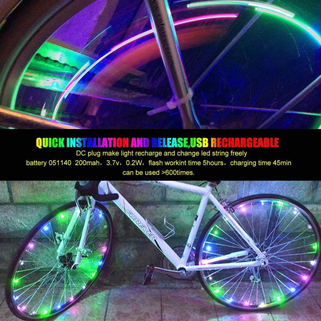 Ounice Bike Wheel Lights Rechargeable Colorful Bike Wheel LED Light String