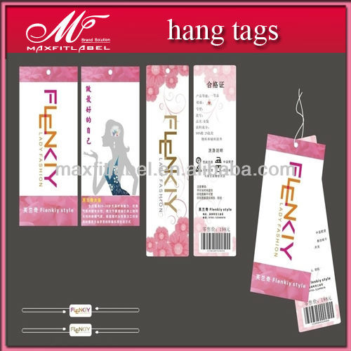 customized and high quality brand fashion hang tags for women dress