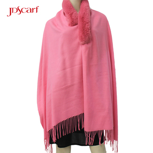 Hand knitting woolen fur design muffler designs for ladies