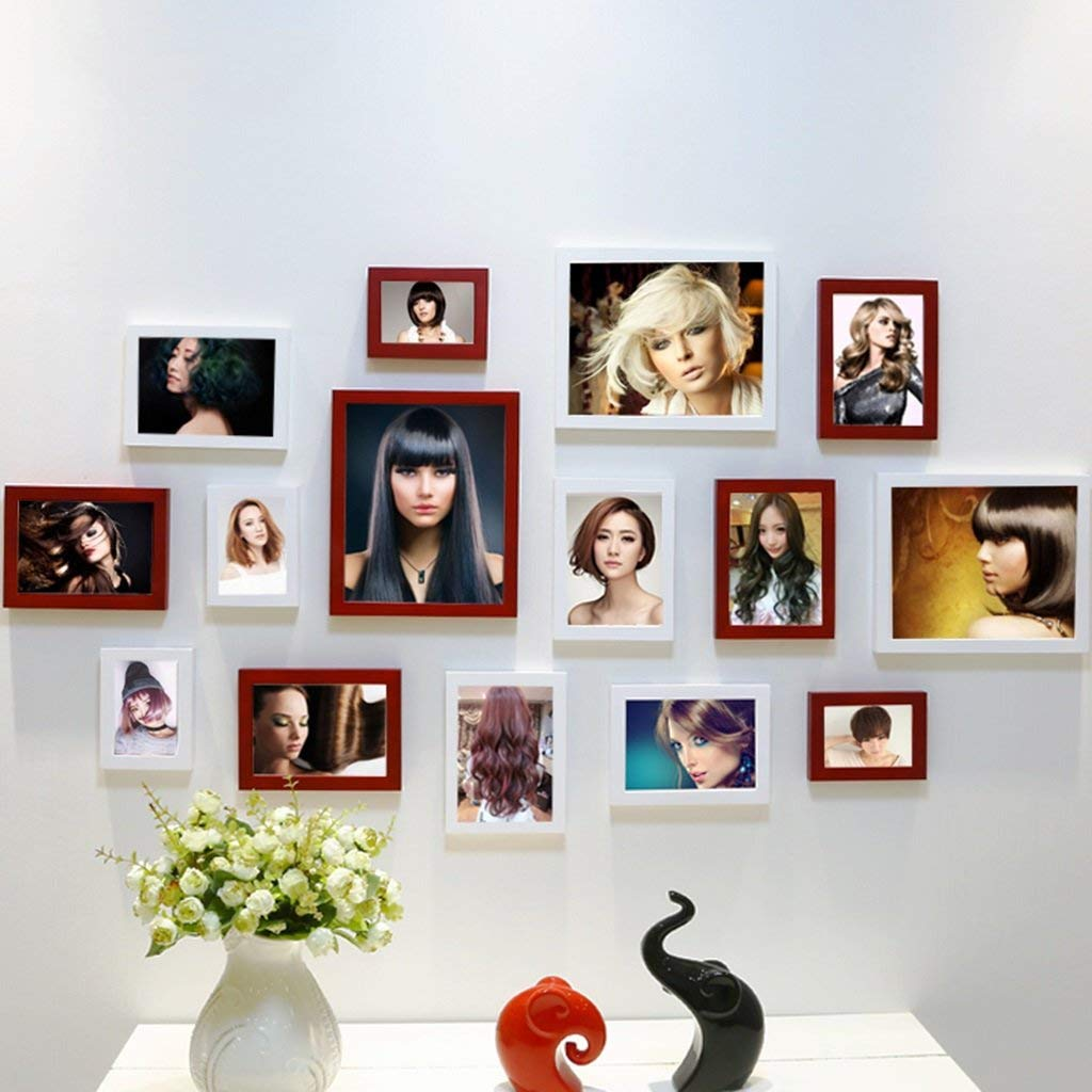 Home@Wall photo frame Hair Salon Decorative Painting Mural Fashion Hot Hair Style Hair Salon Wall Painting Combination (Color : J)